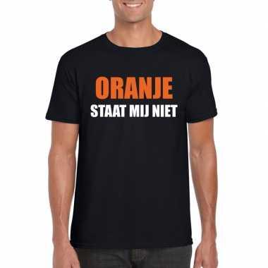 Goedkope oranje staat mij niet t shirt zwart heren