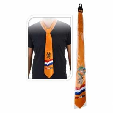 Goedkope oranje stropdas met nederlandse afbeeldingen 10047575