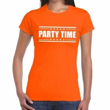 Goedkope oranje t shirt dames met tekst party chick