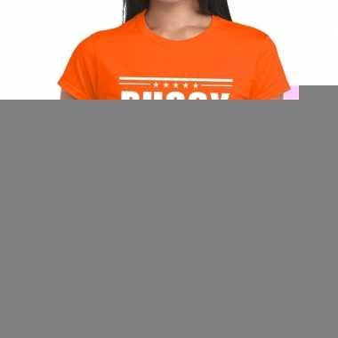 Goedkope oranje t shirt dames met tekst party chick