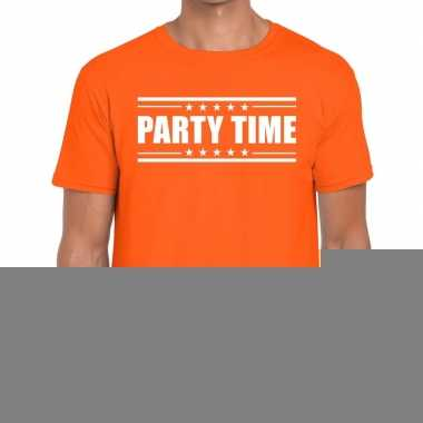 Goedkope oranje t shirt heren met tekst party time
