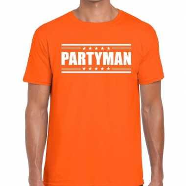Goedkope oranje t shirt heren met tekst partyman