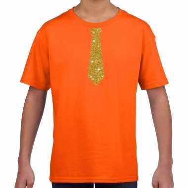 Goedkope oranje t shirt met gouden stropdas voor kinderen