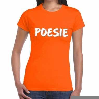 Goedkope oranje t shirt poesie voor dames