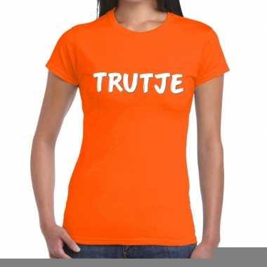 Goedkope oranje t shirt trutje voor dames
