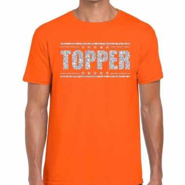 Goedkope oranje topper shirt in zilveren glitter letters heren