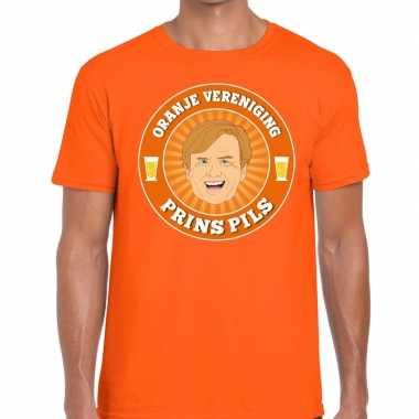 Goedkope oranje vereniging prins pils t shirt oranje heren