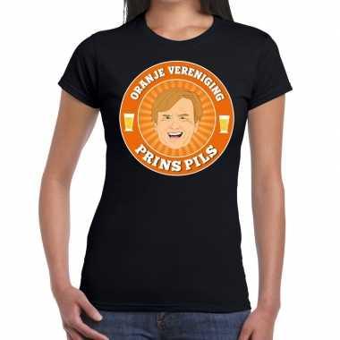 Goedkope oranje vereniging prins pils t shirt zwart dames