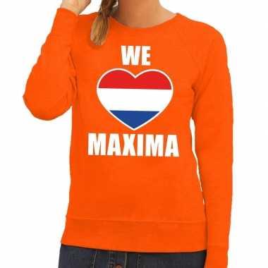 Goedkope oranje we love maxima trui voor dames