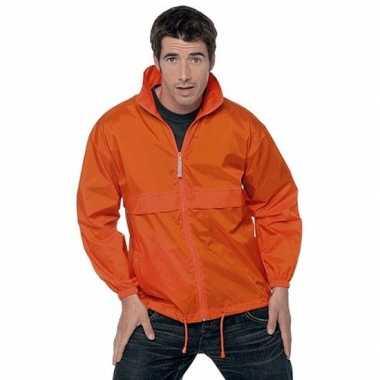 Goedkope oranje wind/regenjas voor volwassenen