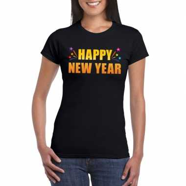 Goedkope oud en nieuw shirt happy new year zwart dames