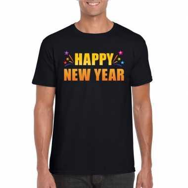 Goedkope oud en nieuw shirt happy new year zwart heren