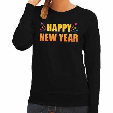 Goedkope oud en nieuw sweater/ trui happy new year zwart dames