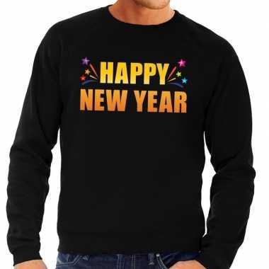 Goedkope oud en nieuw sweater/ trui happy new year zwart heren