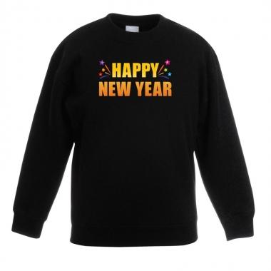 Goedkope oud en nieuw sweater/ trui happy new year zwart jongens en m