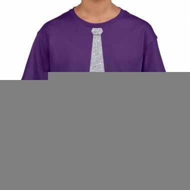 Goedkope paars t shirt met zilveren stropdas voor kinderen