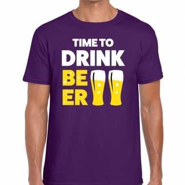 Goedkope paars time to drink beer fun t shirt voor heren