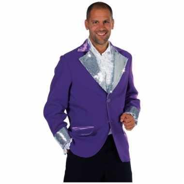 Goedkope paars zilver glitter jas heren