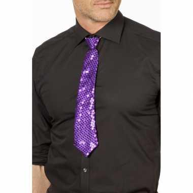 Goedkope paarse glitter verkleed stropdassen 32 cm voor dames/heren