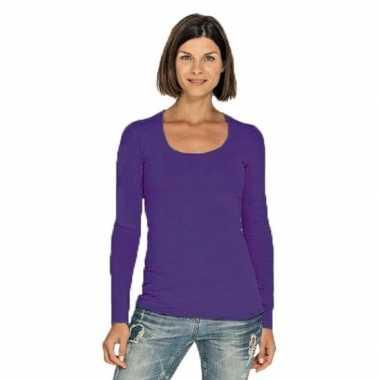 Goedkope paarse longsleeve shirt met ronde hals voor dames
