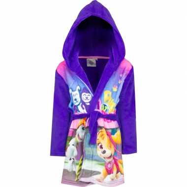 Goedkope paarse paw patrol ochtendjas met capuchon voor meisjes