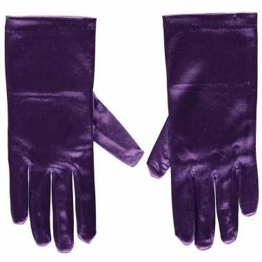 Goedkope paarse satijnen verkleed handschoenen 20 cm