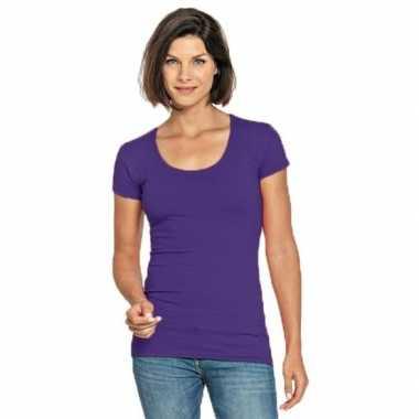 Goedkope paarse shirt met ronde hals voor dames