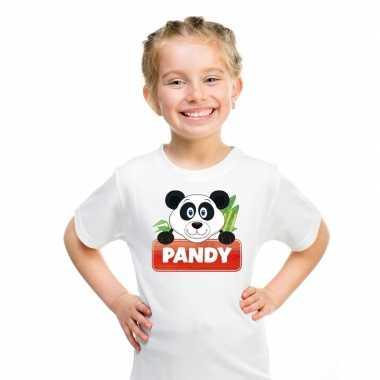 Goedkope panda dieren t shirt wit voor kinderen
