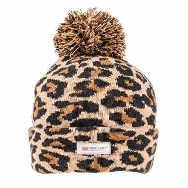 Goedkope panterprint/luipaardprint muts bruin/zwart voor dames/vrouwen