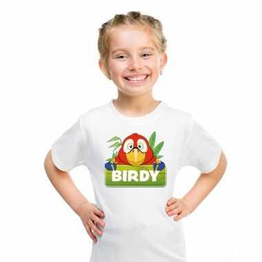 Goedkope papegaai dieren t shirt wit voor kinderen