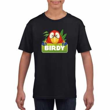 Goedkope papegaai dieren t shirt zwart voor kinderen