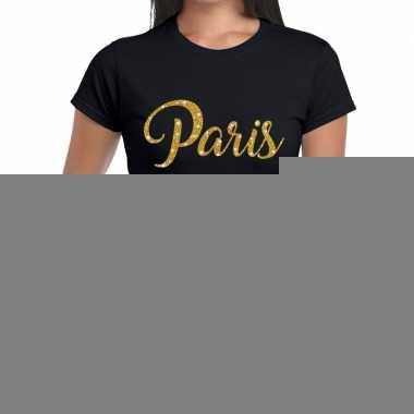 Goedkope paris gouden letters fun t shirt zwart voor dames
