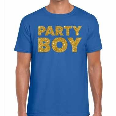 Goedkope party boy fun t shirt blauw voor heren