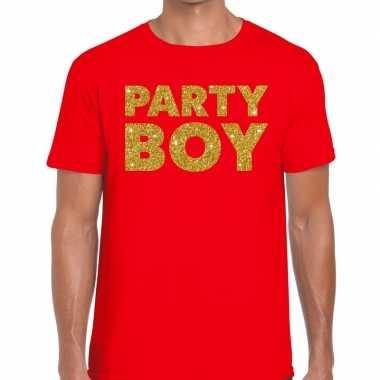 Goedkope party boy fun t shirt rood voor heren