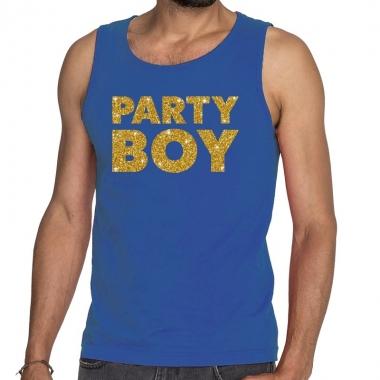 Goedkope party boy fun tanktop / mouwloos shirt blauw voor heren
