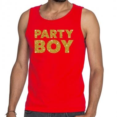 Goedkope party boy fun tanktop / mouwloos shirt rood voor heren