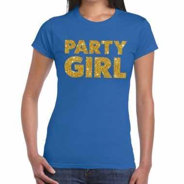 Goedkope party girl fun t shirt blauw voor dames