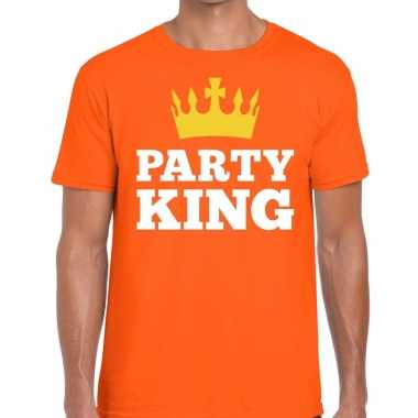 Goedkope party king t shirt oranje heren