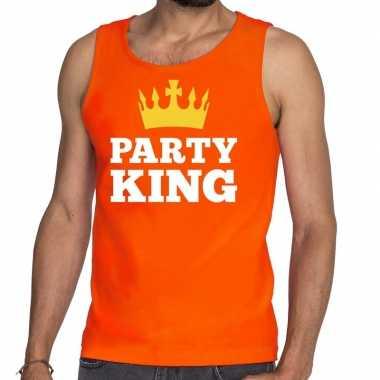 Goedkope party king tanktop / mouwloos shirt oranje heren