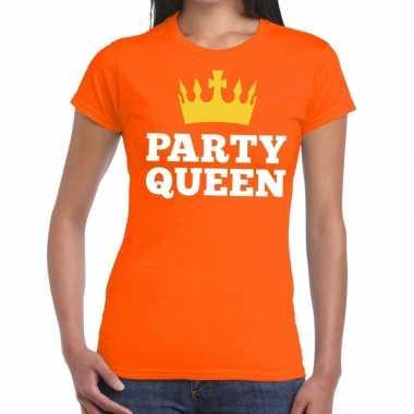 Goedkope party queen t shirt oranje dames