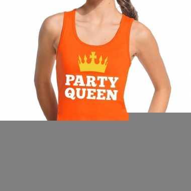Goedkope party queen tanktop / mouwloos shirt oranje dames