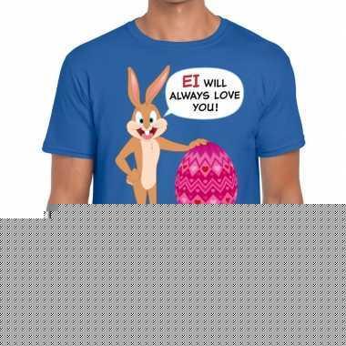 Goedkope pasen shirt blauw ei wil always love you voor heren