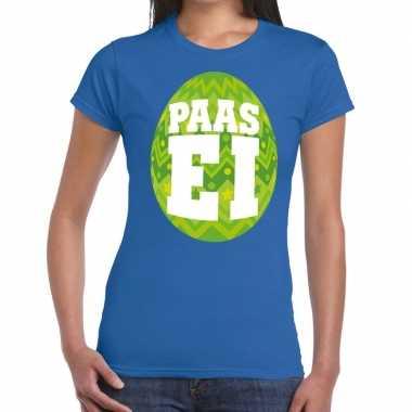 Goedkope pasen shirt blauw met groen paasei voor dames