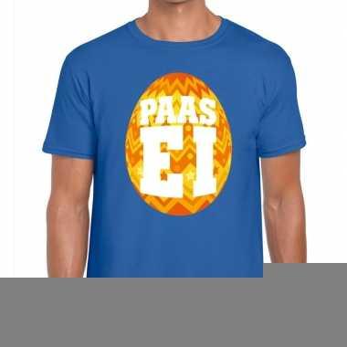 Goedkope pasen shirt blauw met oranje paasei voor heren