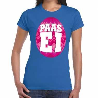 Goedkope pasen shirt blauw met roze paasei voor dames
