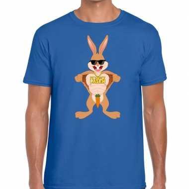 Goedkope pasen shirt blauw stoere paashaas voor heren