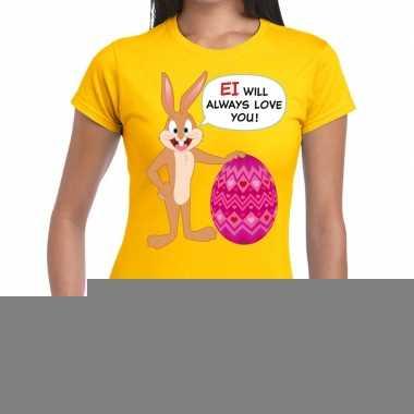 Goedkope pasen shirt geel ei wil always love you voor dames