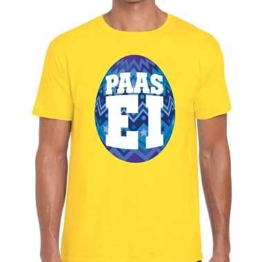 Goedkope pasen shirt geel met blauw paasei voor heren