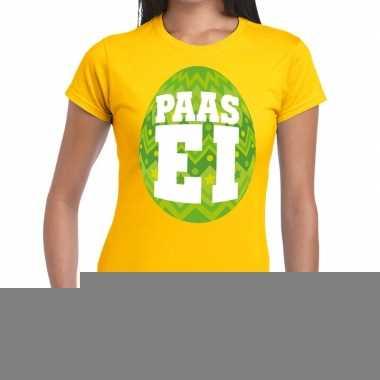 Goedkope pasen shirt geel met groen paasei voor dames