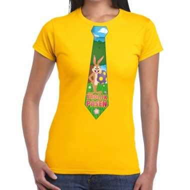 Goedkope pasen shirt geel met paashaas stropdas voor dames